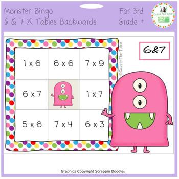 Times Tables Monster Multiplication Bingo: 6 & 7 x Backwards