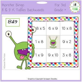 Times Tables Monster Multiplication Bingo: 8 & 9 x Backwards