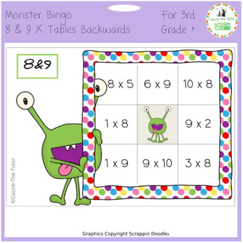 Times Tables Monster Multiplication Bingo: 8 & 9 x Backwards
