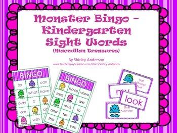 Monster Bingo- Macmillan Treasures Kindergarten HFW