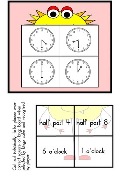 Monster Bingo: o'clock and half past