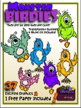 Monster Birdies Clipart (4 FREE Elements Included)  Embellish Yourself Artworks