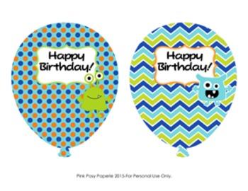 Monster Birthday Balloons (4 different designs)
