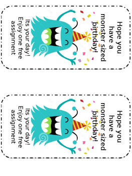 Monster Birthday Cards
