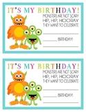 Monster Birthday Certificate-Happy Birthday