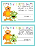 Monster Birthday Certificate-Happy Birthday