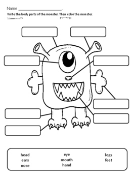 Monster Body Parts/Monstruo Partes del Cuerpo - Label It!