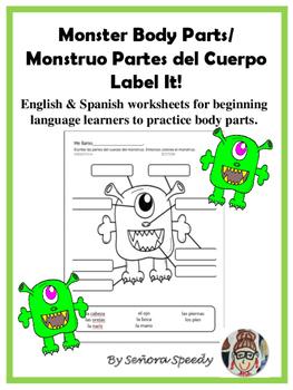 Monster Body Parts/Monstruo Partes del Cuerpo - Label It!