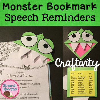 Monster Bookmark Speech Craft {articulation craftivity}