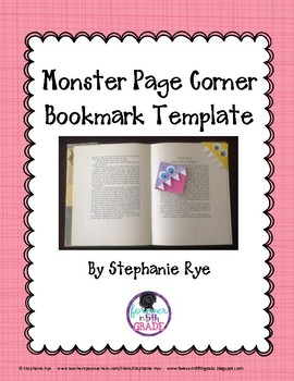 Monster Bookmark Template Freebie