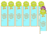 Monster Bookmark Template- SEE you