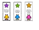 Monster Bookmarks - Student Gift- Reading Motivator