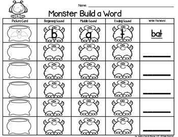 Monster Build a Word Phonics Center