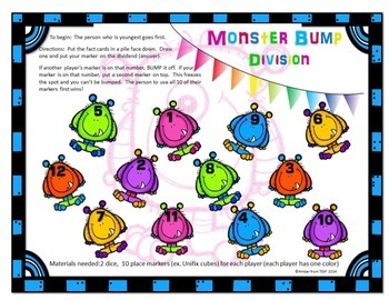 Monster Bump - A Division Game for Facts 1-12