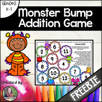 Monster Bump Addition Game Freebie