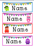 Monster & Bunting Desk Name Tags