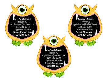 Monster Theme Business Cards {Editable}