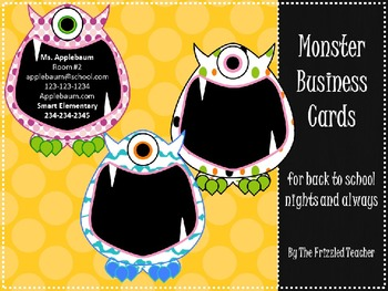 Monster Theme Business Cards {Editable}