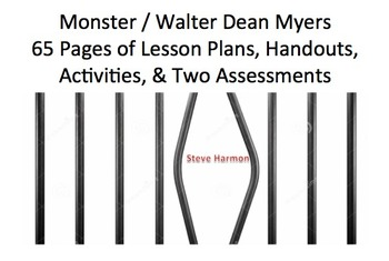 Monster By Walter Dean Myers: 65 Pages- Unit Lesson Plans, Handouts & more