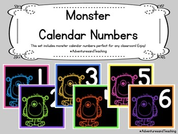 Monster Calendar Numbers