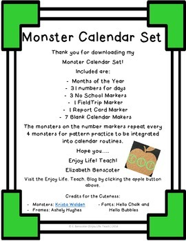 Monster Calendar Set