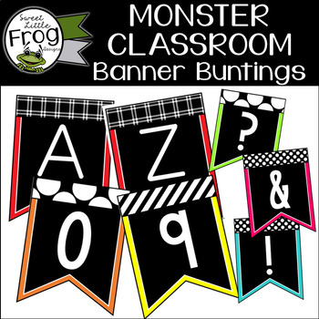 Monster Classroom Banner Buntings - Black and Brights