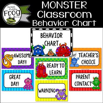 Monster classroom behavior chart by sweet little frog designs tpt