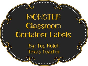 Monster Classroom Container Labels