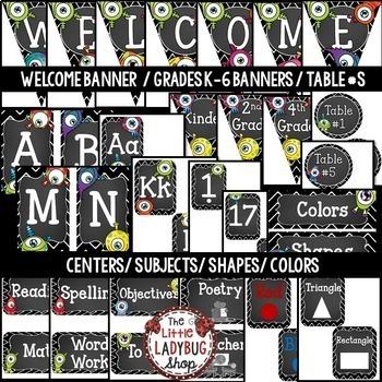 Monster Theme Classroom Decor- Editable