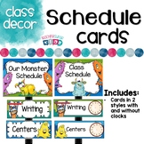 Monster Classroom Decor Schedule Cards