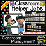 Classroom Helper Jobs (EDITABLE) Monster Theme (polka dots with black backgd)