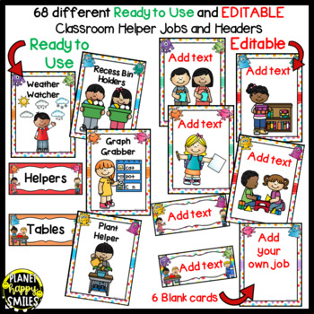 Classroom Helper Jobs (EDITABLE) Monster Theme (polka dots with white backgd)