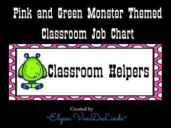 Monster Classroom Job Chart (Pink and Green Polka Dot Design)
