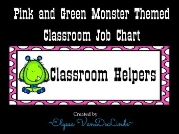 Monster Classroom Job Chart (Pink and Green Polka Dot Design)