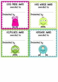 Monster Classroom Reward Cards