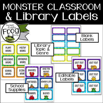 Monster Classroom Supplies and Library Labels - Editable