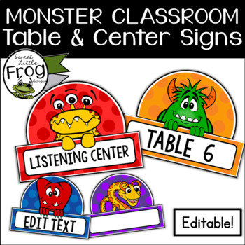Monster Classroom Table and Center Signs - Editable