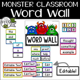 Monster Classroom Word Wall with Fry Top 300 Words - Editable