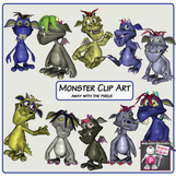 Monster Clip Art Color and Black and White - OK for Commer