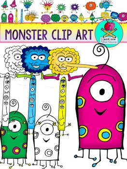 Monster Clip Art {33 PNG Monster Images Commercial & Perso