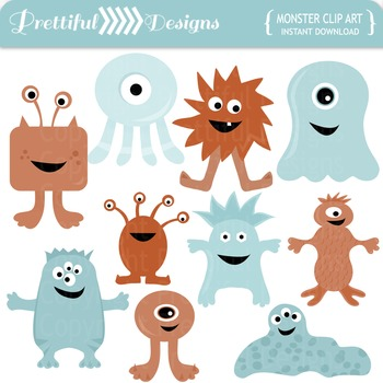 Monster Clip Art Blues and Oranges