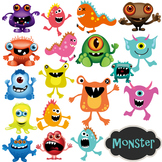 Monster Clip Art Digital Monsters - Colored and B/W Outlined