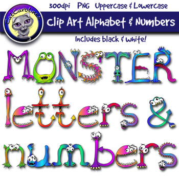 Monster Clip Art Letters & Numbers