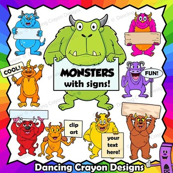Monster Clip Art | Monsters Holding Signs