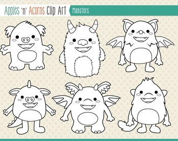 Monster Clip Art - color and outlines