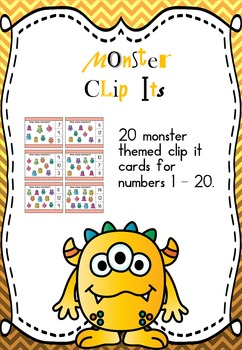 Monster Clip Its - numbers 1 - 20