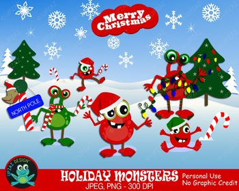 Christmas Monsters {Upzaz Digital Clipart}