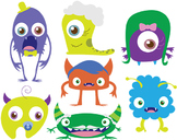 Monster Clipart - Family of Monsters Clipart