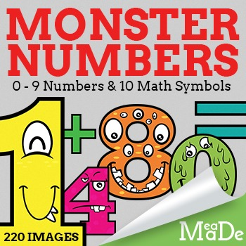 Monster Clipart Numbers - Cute Cartoon Monster Math
