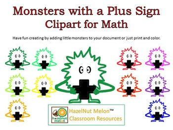 Monster Clipart with Plus Signs